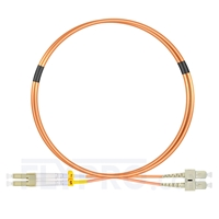 Picture of 2m (7ft) LC UPC to SC UPC Duplex OM2 Multimode PVC (OFNR) 2.0mm Fiber Optic Patch Cable