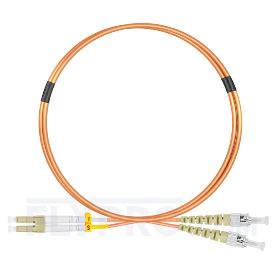 Picture of 1m (3ft) LC UPC to ST UPC Duplex OM2 Multimode LSZH 2.0mm Fiber Optic Patch Cable