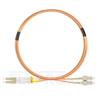 Picture of 3m (10ft) LC UPC to SC UPC Duplex 3.0mm PVC (OFNR) OM2 Multimode Fiber Optic Patch Cable