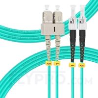 Picture of 3m (10ft) SC UPC to ST UPC Duplex OM3 Multimode PVC (OFNR) 2.0mm Fiber Optic Patch Cable