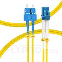 Bild von LWL-Patchkabel, 1m (3ft) LC UPC auf SC UPC Duplex OS2 Singlemode PVC (OFNR) 2.0mm