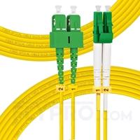 Bild von 10m (33ft) LC APC to SC APC Duplex 3.0mm PVC (OFNR) 9/125 Single Mode Fiber Patch Cable