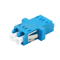 Picture of LC/UPC to LC/UPC 10G Duplex OM3 Multimode SC Footprint Plastic Fiber Optic Adapter/Mating Sleeve with Flange, Aqua