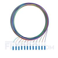 Bild von LWL-Pigtail LC, 12 Fasern LC UPC, OS2 Singlemode farbcodiert - nicht ummantelt 2m (7ft)