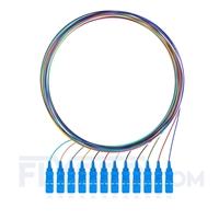 Bild von LWL-Pigtail SC, 12 Fasern SC UPC, OS2 Singlemode farbcodiert - nicht ummantelt 1m (3ft)