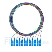 Bild von LWL-Pigtail SC, 12 Fasern SC UPC, OS2 Singlemode farbcodiert - nicht ummantelt 2m (7ft)